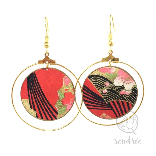 Créoles washi éventails rouge Sendrée papier japonais