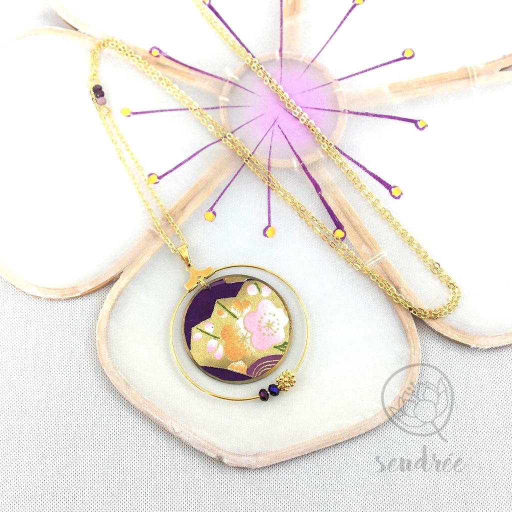 Sautoir washi éventail violet Sendrée papier japonais