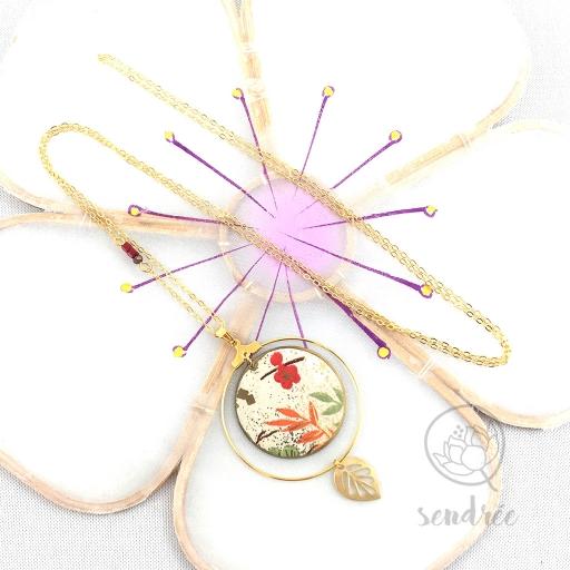 Sautoir washi floral sable Sendrée papier japonais