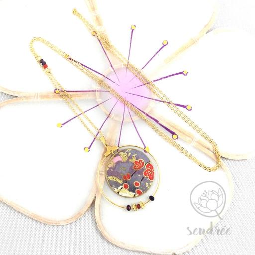 Sautoir washi prunier violet Sendrée papier japonais