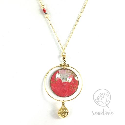 Sautoir washi sakura red Sendrée papier japonais