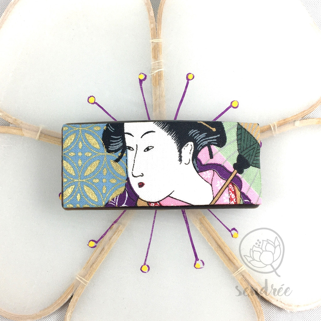 Barrette M tissu geisha sendrée tissu japonais
