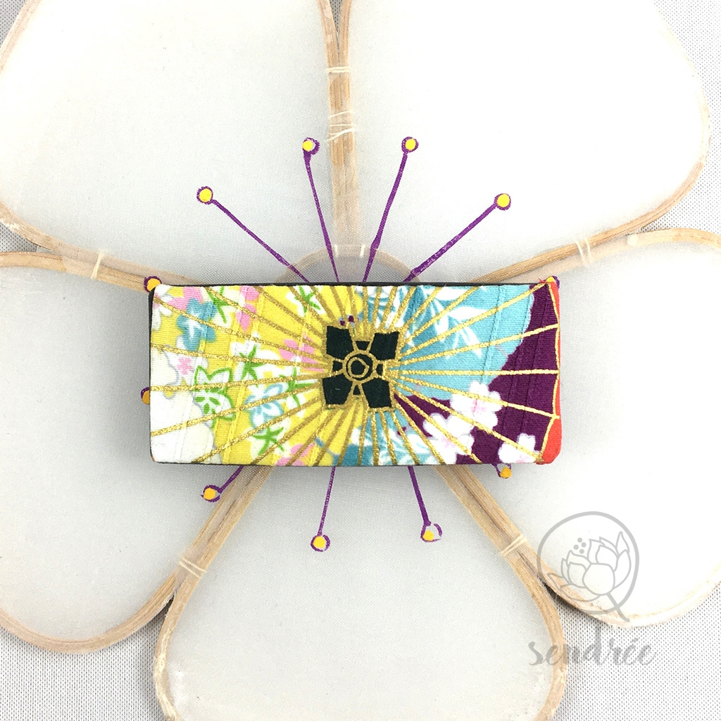Barrette tissu ombrelle pastel sendrée tissu japonais