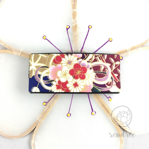 Barrette tissu ume violet sendrée tissu japonais