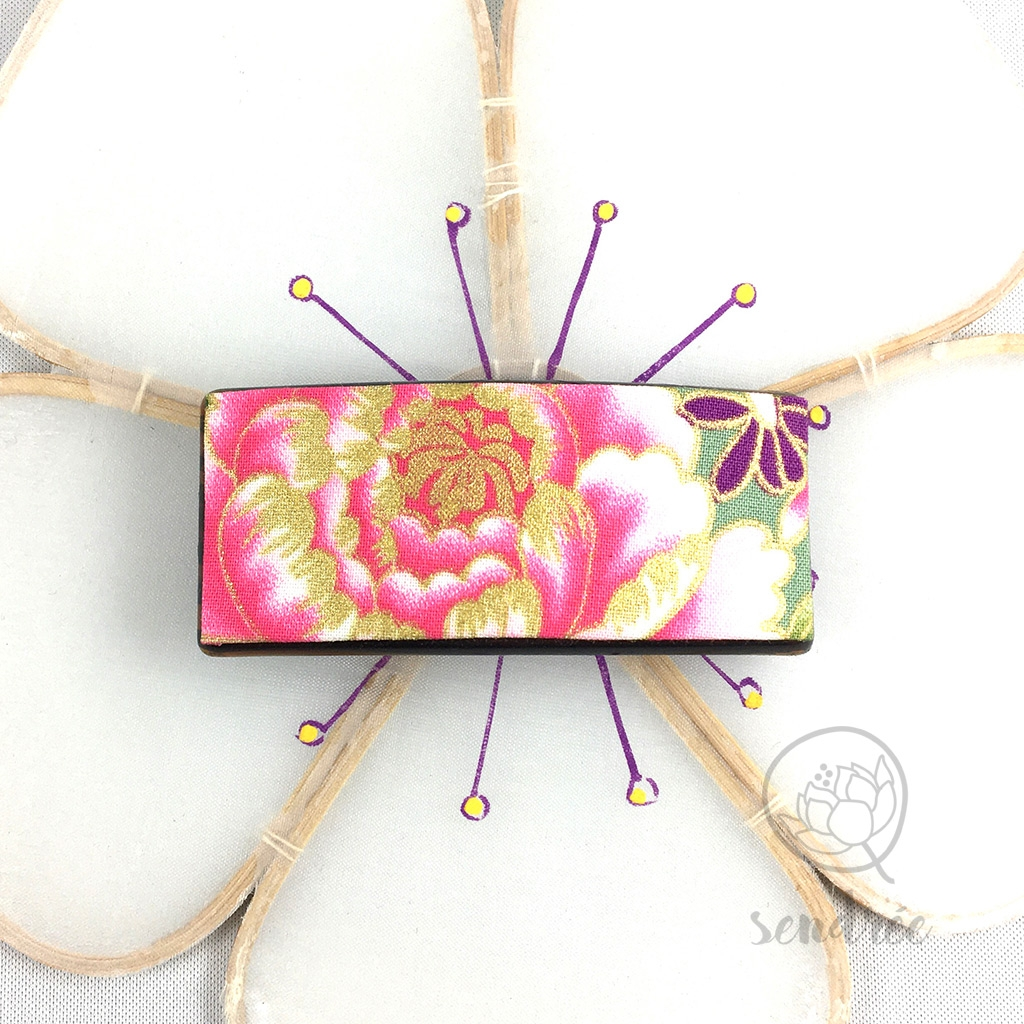 Barrette pivoine rose cendrée tissu japonais
