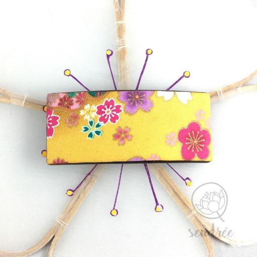 Barrette tissu sakura safran sendrée tissu japonais