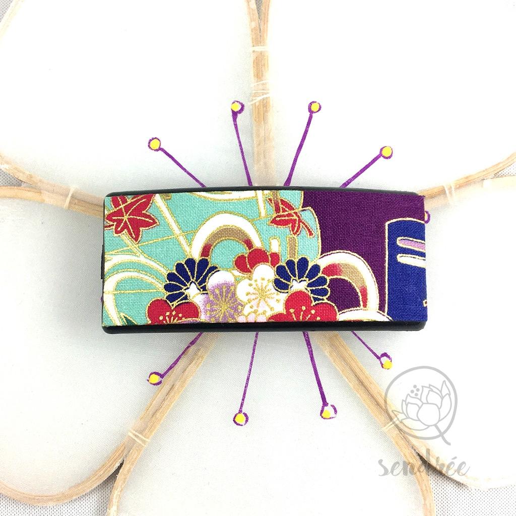 Barrette tissu floral violet sendrée tissu japonais