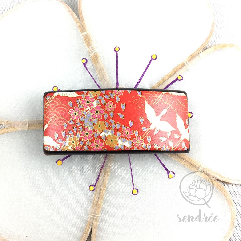 Barrette washi grue rouge sendrée papier japonais