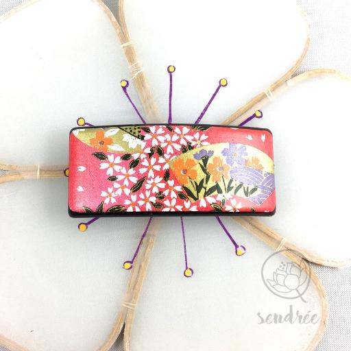 Barrette washi éventail rose sendrée papier japonais
