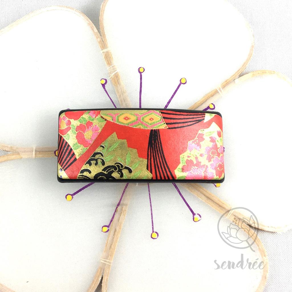Barrette washi éventail rouge sendrée papier japonais