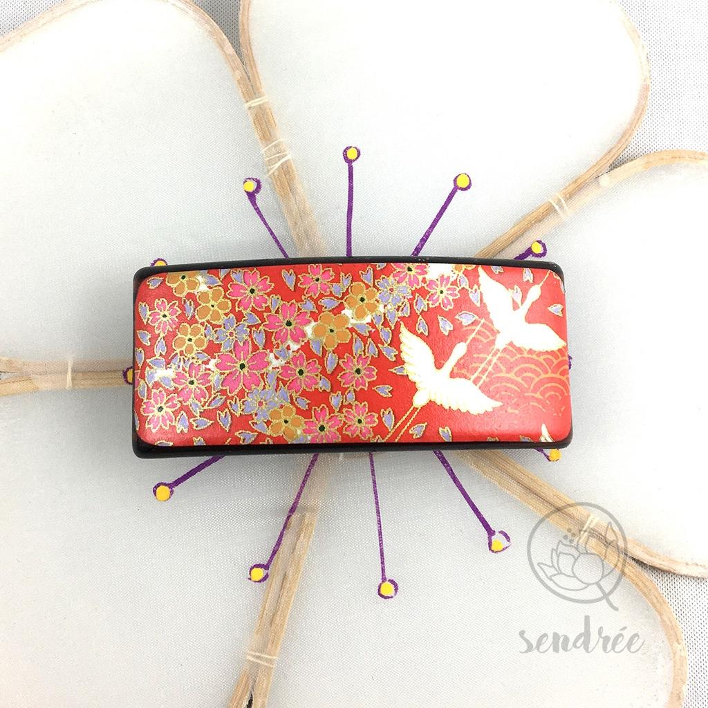 Barrette M washi grue rouge sendrée papier japonais