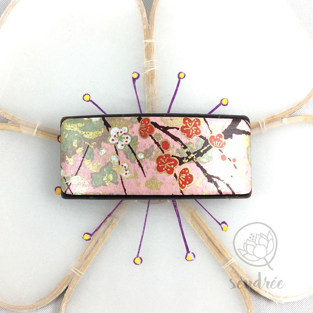 Barrette washi prunier rose sendrée papier japonais