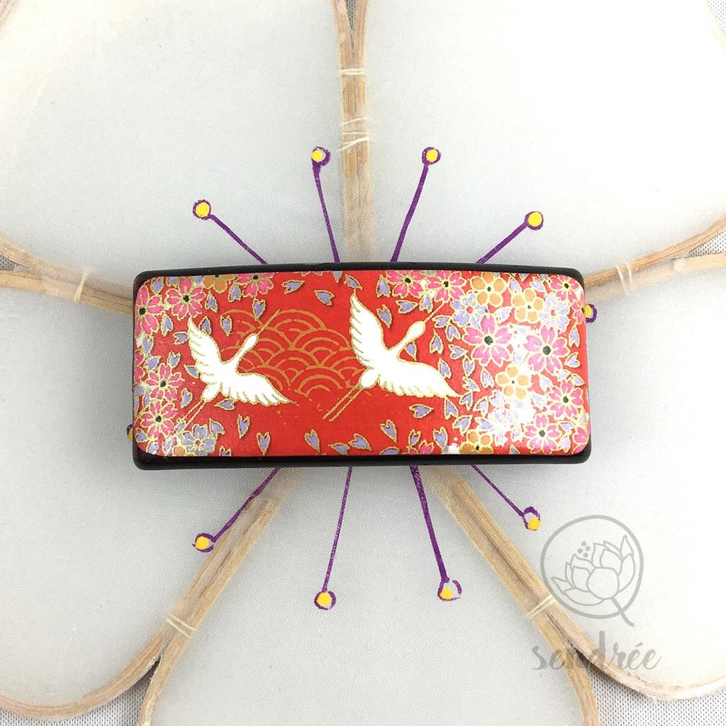 Barrette washi grues rouge sendrée papier japonais