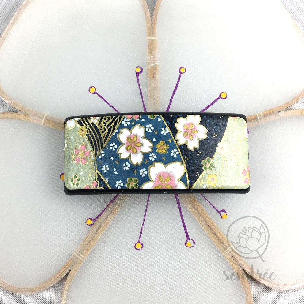 Barrette washi sakura bleu sendrée papier japonais
