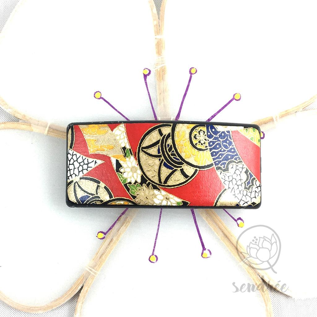Barrette washi tambour rouge sendrée papier japonais
