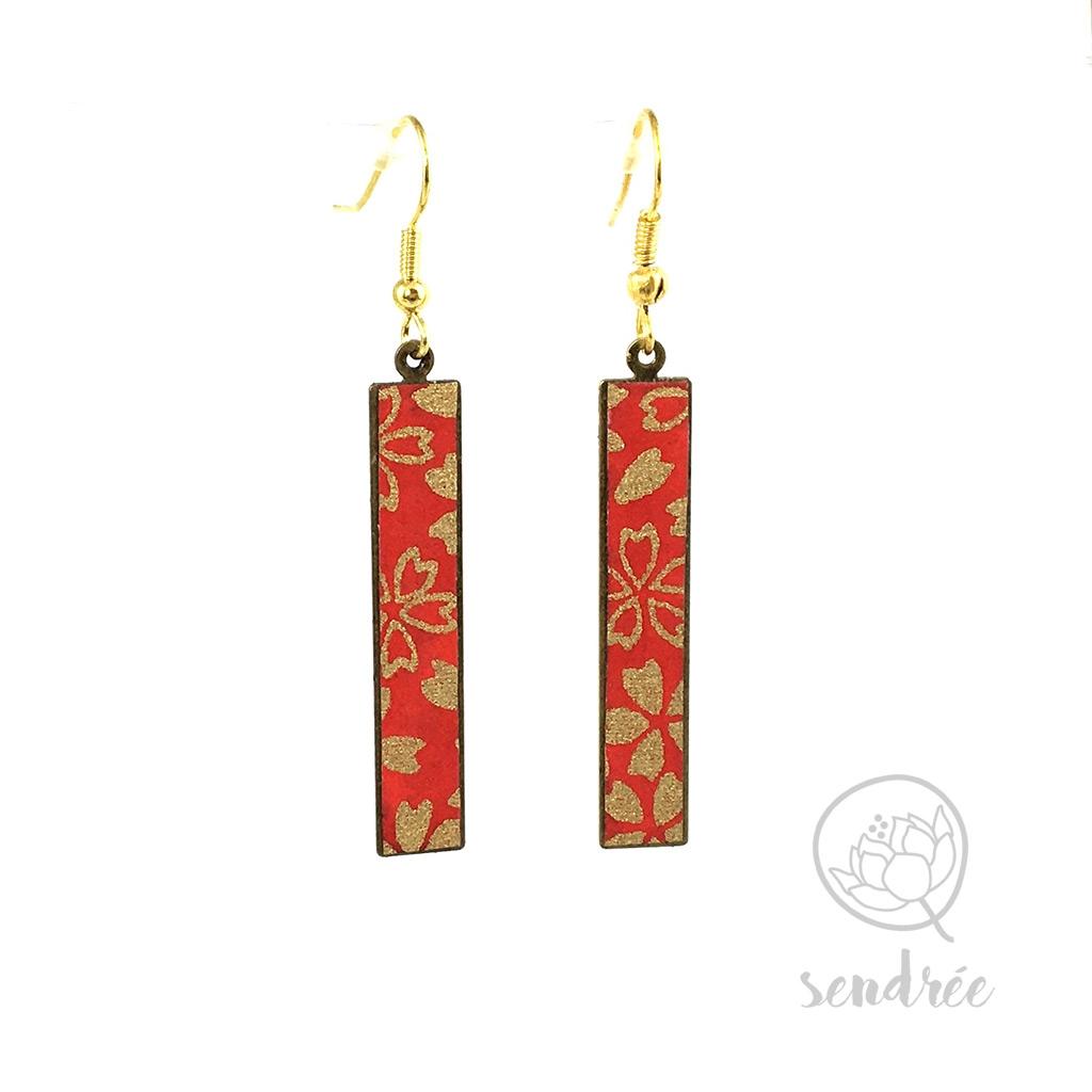 BO washi estampe sakura rouge sendrée papier japonais