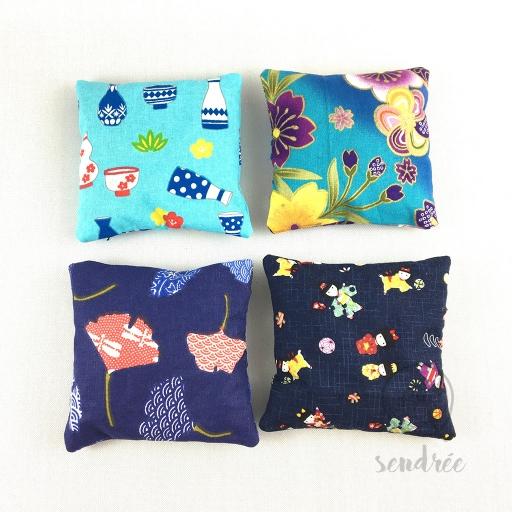 Coussin lavande gamme bleue sendrée tissus japonais