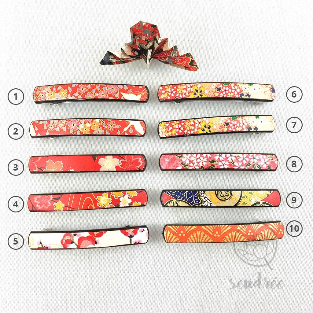 Barrette S gamme rouge orange rose sendrée papier japonais