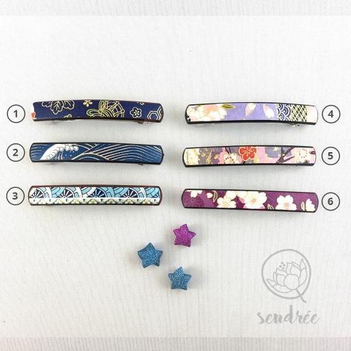 Barrette S gamme bleue violette sendrée papier japonais