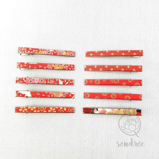 Pince croco longue gamme rouge 1 sendrée papier japonais