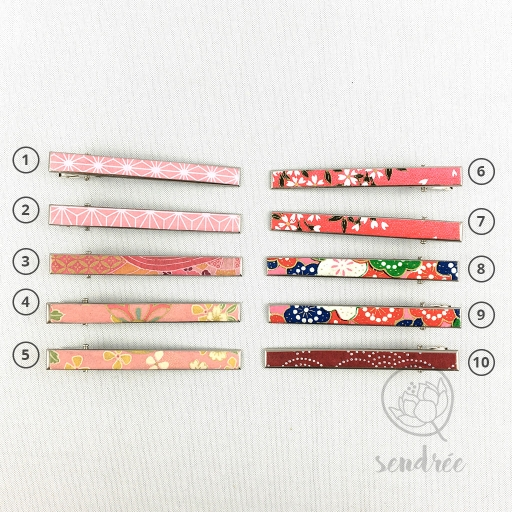 Pince croco longue gamme rose sendrée papier japonais