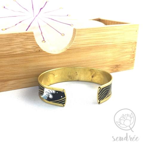 Bracelet M washi vague noire sendrée papier japonais