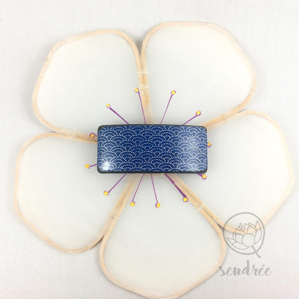 Barrette washi S asanoha bleu sendrée papier japonais