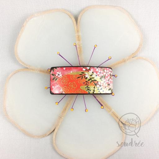 Barrette S washi éventail corail sendrée papier japonais