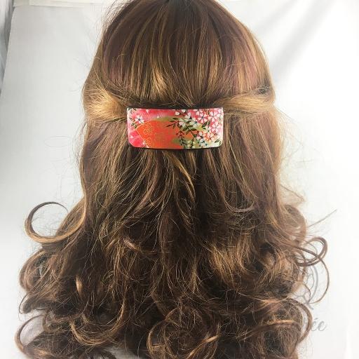 Barrette S washi sakura rose sendrée papier japonais