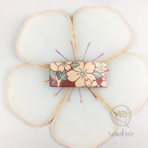 Barrette S washi sakura bordeaux sendrée papier japonais