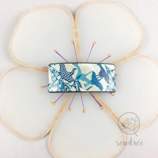 Barrette S washi grue bleue sendrée papier japonais