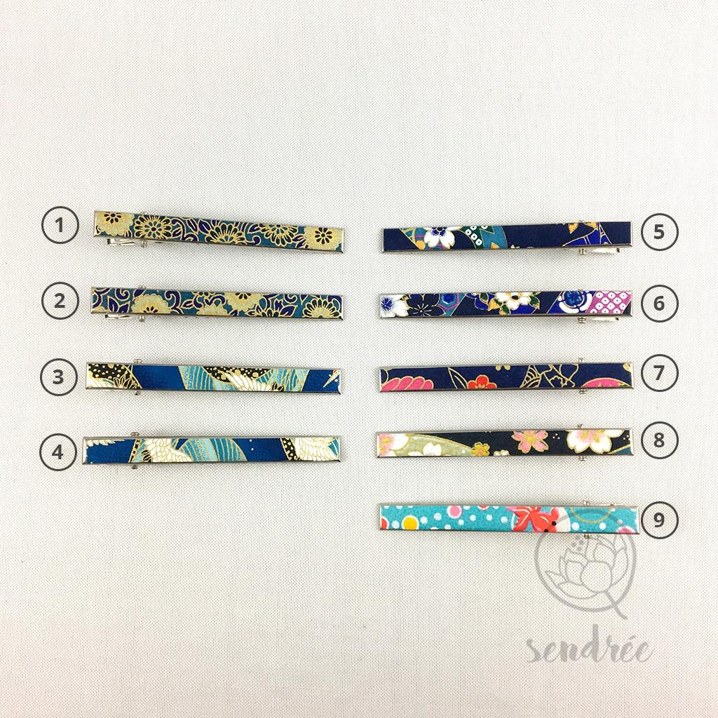 Pince croco longue gamme bleue 1 sendrée papier japonais