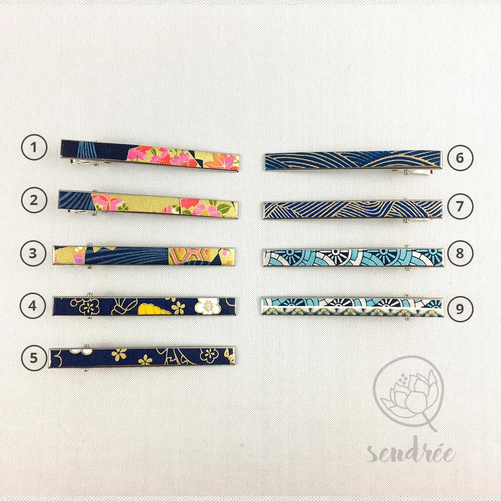 Pince croco longue gamme bleue sendrée papier japonais