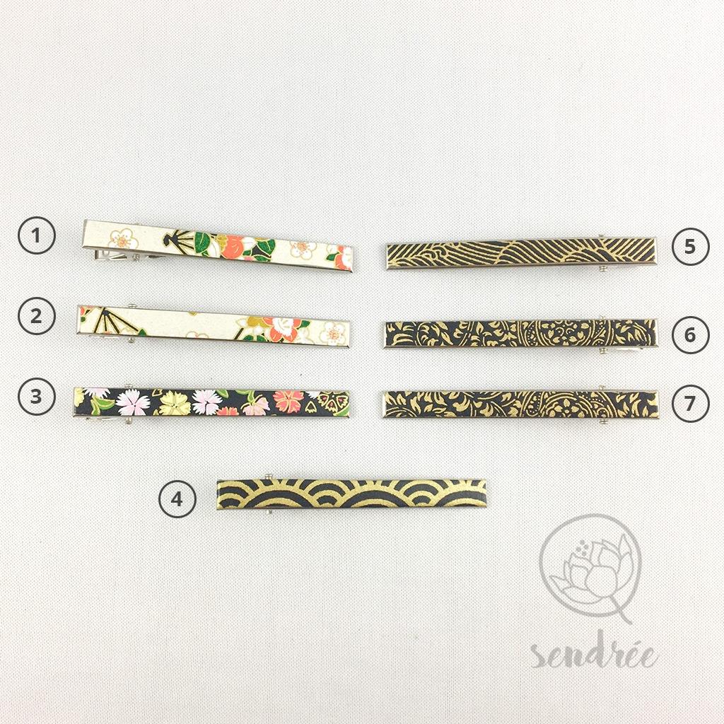 Pince croco longue gamme noire sendrée papier japonais