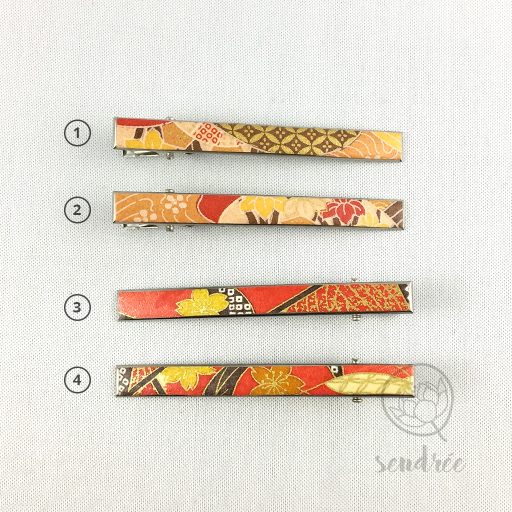Pince croco longue gamme orange sendrée papier japonais