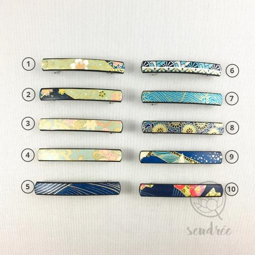 Barrette XS gamme bleue sendrée papier japonais