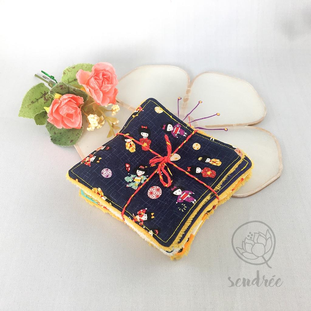 Set lingettes kawai Japan sendrée tissu japonais