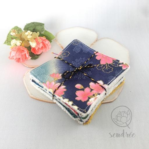 Set lingettes mini flowers sendrée tissu japonais