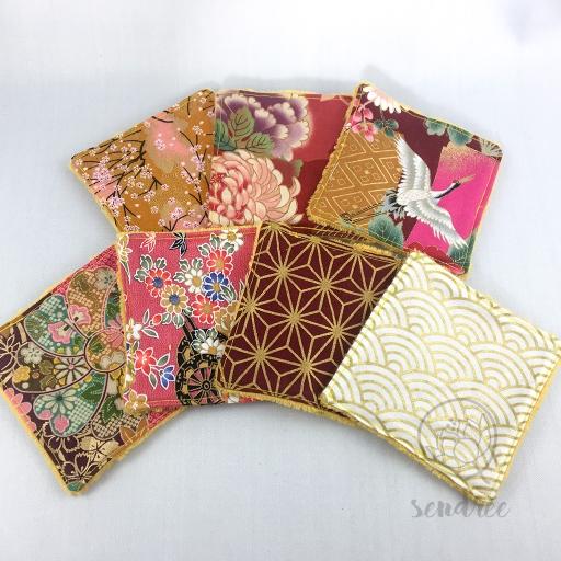 Set lingettes kimono sendrée tissus japonais