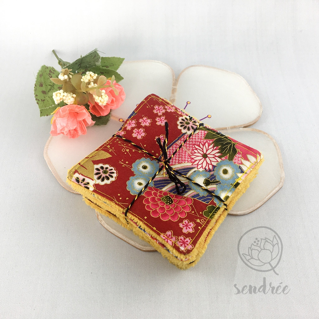 Set lingettes Japan burgundy sendrée tissus japonais