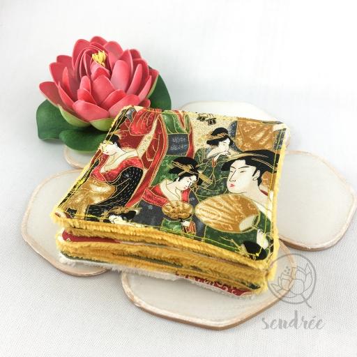 Set lingettes flower geisha sendrée tissus japonais