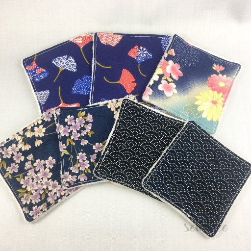 Set lingettes blue mood sendrée tissus japonais