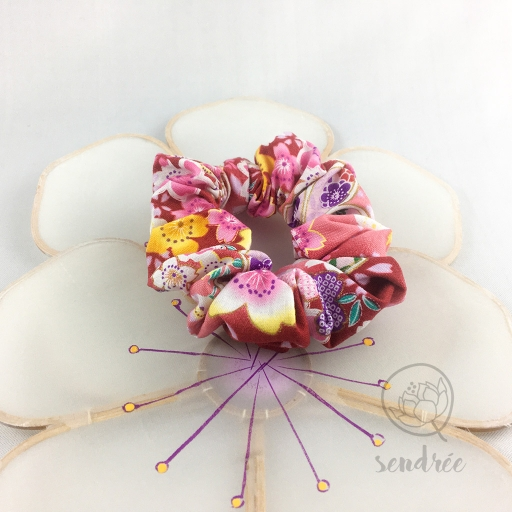 Chouchou blossom pink sendrée tissu japonais