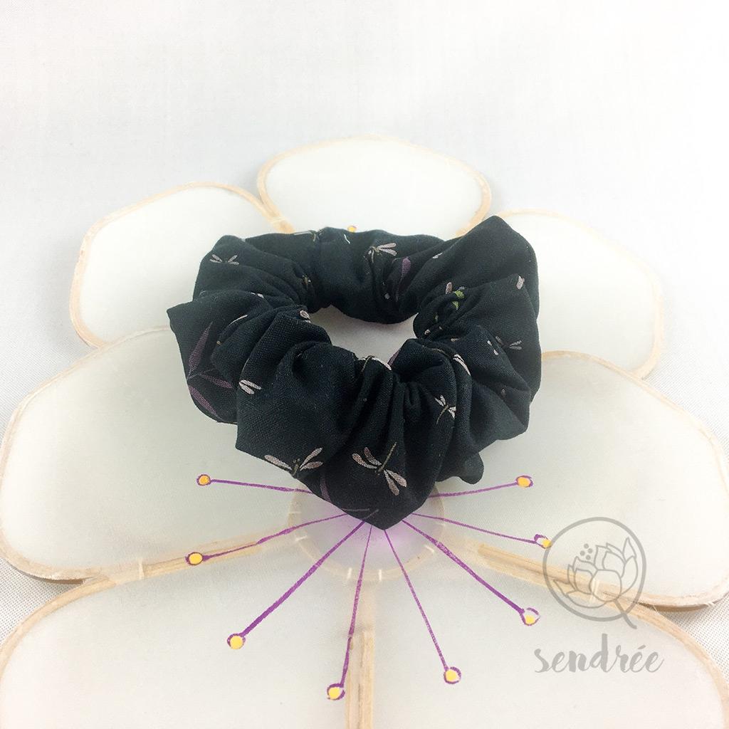 Chouchou noir libellules sendrée tissu japonais