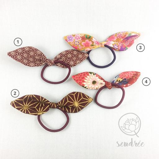 Elastiques noeuds burgundy sendrée tissus japonais