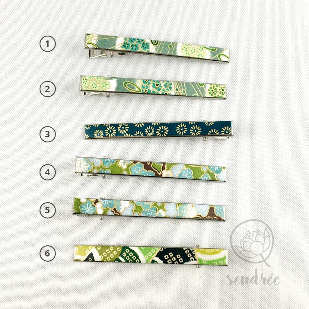 Pinces croco L vertes sendrée papier japonais