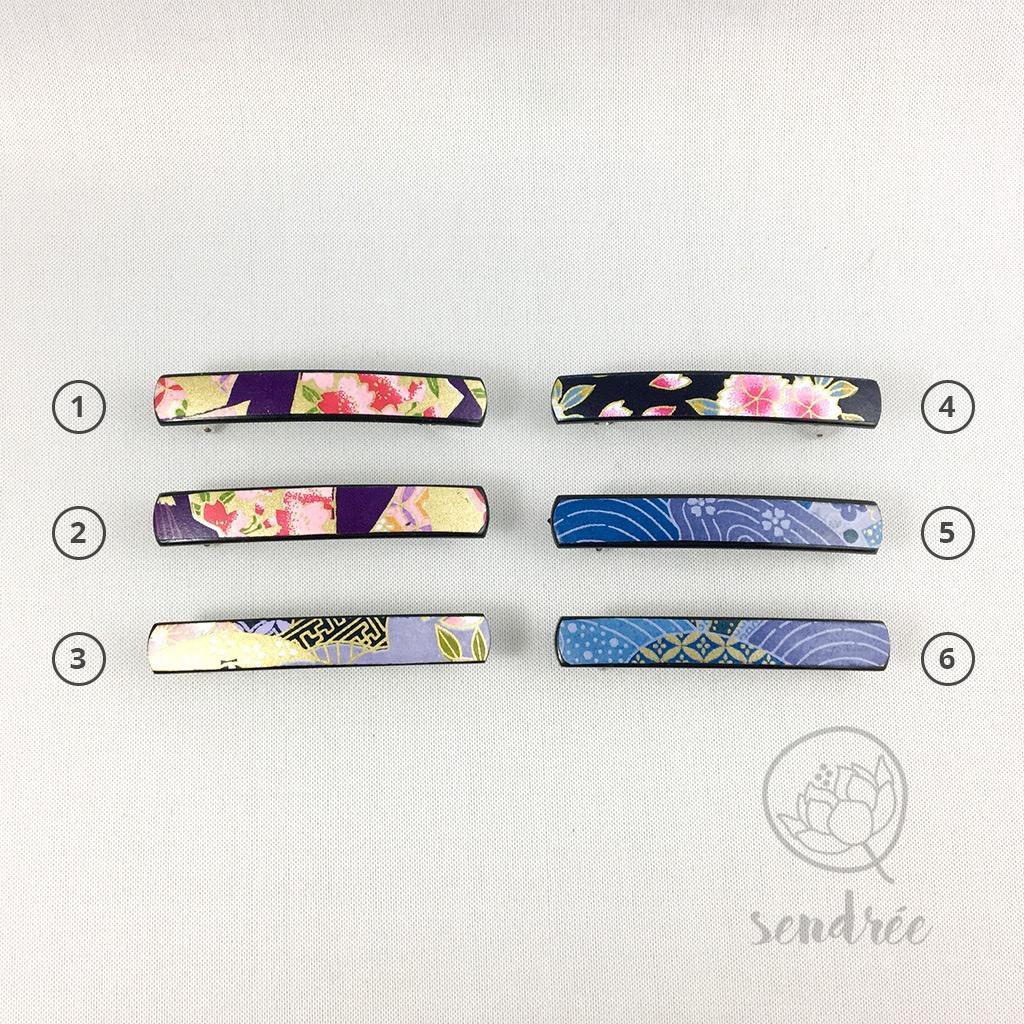 Barrettes XS bleues violettes sendrée papier japonais