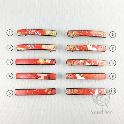 Barrette XS rouges sendrée papier japonais