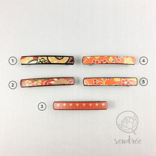Barrettes XS rouge orange sendrée papier japonais