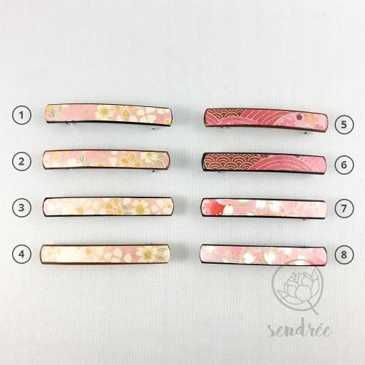 Barrettes XS rose sendrée papier japonais